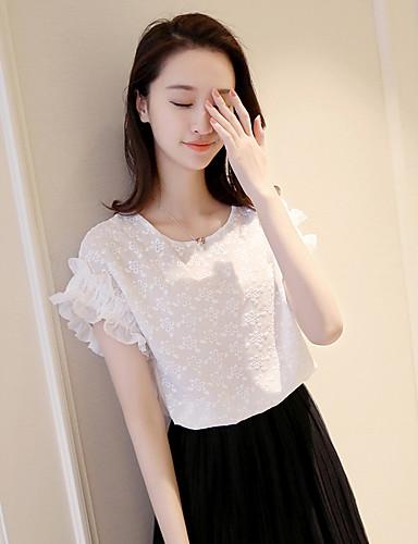 Damen Solide Einfach Lässig/Alltäglich T-shirt,V-Ausschnitt Kurzarm Polyester