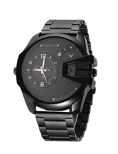 JUBAOLI Homens Quartzo Relógio de Pulso Relógio Esportivo Chinês Calendário Mostrador Grande Dois Fusos Horários Aço Inoxidável Banda
