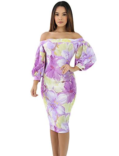 Dámské Plážové Bodycon Šaty - Tisk Bez ramínek High Rise