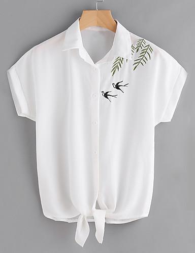 Dámské Jednobarevné Výšivka Jednoduché Roztomilé Šik ven Košile-Léto Polyester Košilový límec Krátký rukáv Průsvitné