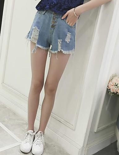 Damen Freizeit Hohe Hüfthöhe Breites Bein / Jeans / Kurze Hosen Hose Solide / Sommer / Ausgehen