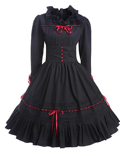 billige Lolita Mode-Gothic Lolitaa Vintage Inspireret Kjoler Dame Pige Bomuld Fest Skolebal Japansk Cosplay Kostumer Plusstørrelser Customized Sort Balkjole Vintage Langærmet Medium Længde / Gotisk Lolita
