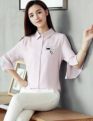 Dámské - Jednobarevné Na běžné nošení Košile, Tisk Bavlna Stojáček