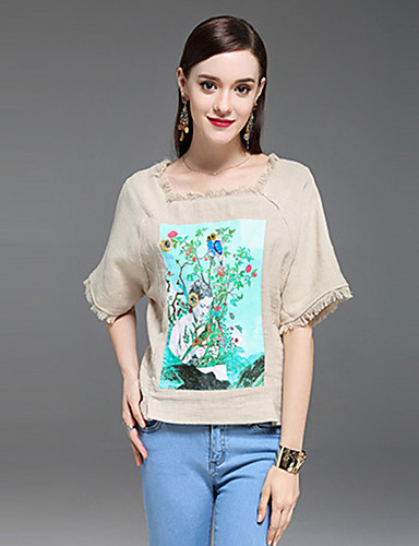 Dámské Jednobarevné Denní Jednoduché Tričko Bavlna Kulatý