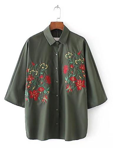 Dámské Výšivka Jednoduchý Sexy Šik ven Košile-Léto Bavlna Košilový límec Tenké Střední