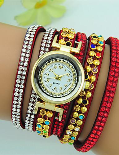 Mulheres Bracele Relógio Quartzo Com Strass Couro Banda Boêmio Preta Branco Vermelho Marrom Azul Marinho Rose