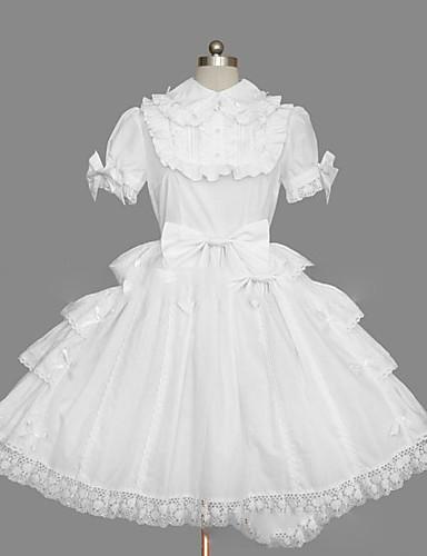 billige Lolita Mode-Prinsesse Sweet Lolita Sommer Kjoler Dame Pige Bomuld Japansk Cosplay Kostumer Plusstørrelser Customized Hvid Balkjole Vintage Kappe Kortærmet Kort / mini