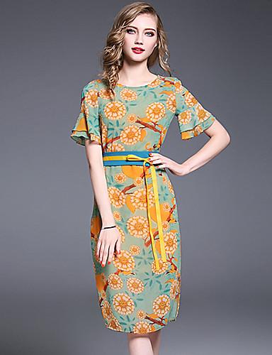 Mulheres Diário Para Noite Fofo Casual Sofisticado Evasê Bainha Médio Vestido, Frufru Fashion Estampado Floral Decote Redondo Manga Curta
