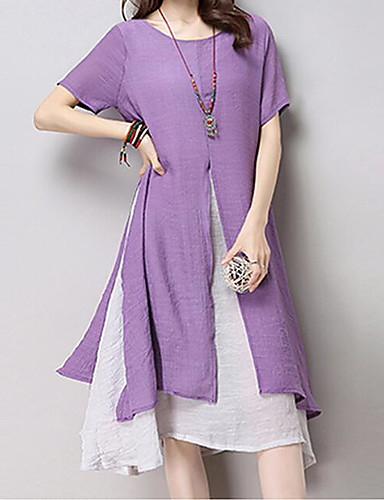 Women's Daily Wear Maxi Loose Loose Dress - Solid Colored Summer Cotton Green Yellow Lavender L XL XXL