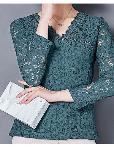 Damen Solide Einfach Lässig/Alltäglich Hemd,V-Ausschnitt Frühling Langarm Baumwolle Nylon Mittel