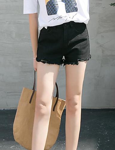 Damen Street Schick Breites Bein Kurze Hosen Jeans Hose Solide