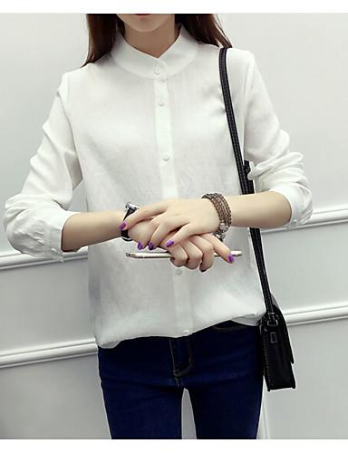Damen Solide - Freizeit Ausgehen Baumwolle Hemd, Ständer