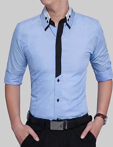 Homens Camisa Social - Festa / Graduação / Obrigado Casual / Boho / Temática Asiática Estilo Formal / Estilo Moderno / Fashion, Estampa