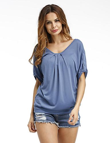 Mulheres Camiseta Sólido Raiom