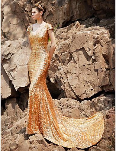 Pouzdrové Do V Extra dlouhá vlečka Flitry Zářivé Formální večer Šaty s  Flitry podle TS Couture® 2b57072b61