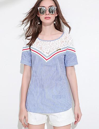 Damen Solide Einfach Alltag T-shirt,Rundhalsausschnitt Kurzarm Acryl