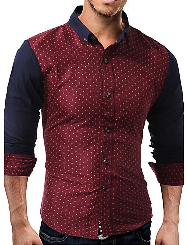 Pánské - Puntíky Čínské vzory Košile Bavlna Klasický límeček