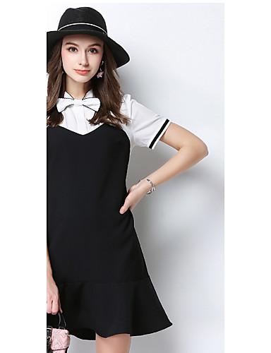 Dámské Běžné/Denní Pouzdro Šaty Jednobarevné,Krátký rukáv Do V Nad kolena Bavlna Léto Low Rise Lehce elastické Střední