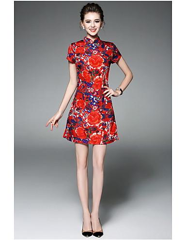 Damen Lose Kleid-Lässig/Alltäglich Blumen Ständer Übers Knie Kurzarm Polyester Sommer Hohe Hüfthöhe Mikro-elastisch Dünn