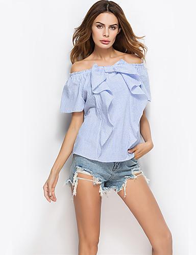 Dámské Proužky Denní Jdeme ven Dovolená Na běžné nošení Sexy Šik ven Košile-Léto Polyester Úzký výstřih Krátký rukáv