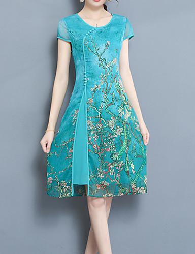 abordables Robes Femme-Femme Soirée Chinoiserie Mi-long Gaine Robe - Imprimé Printemps Eté Bleu Rouge Fuchsia XXXL XXXXL XXXXXL Manches Courtes