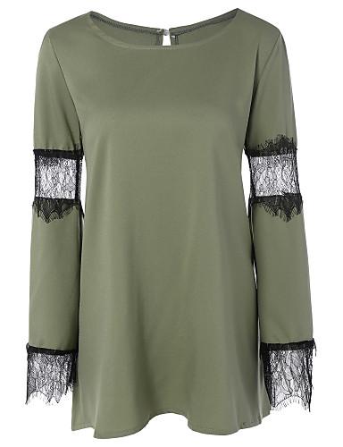 Damen Solide Einfach Lässig/Alltäglich T-shirt,Rundhalsausschnitt Frühling Langarm Baumwolle Dünn
