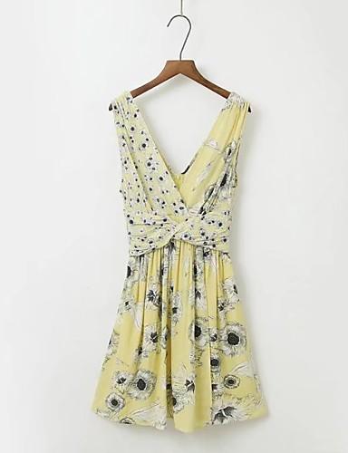 Damen Lose Etuikleid Kleid-Lässig/Alltäglich Ausgehen Einfach Street Schick Blumen V-Ausschnitt Übers Knie Ärmellos Seide Baumwolle