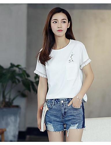 Damen Solide - Freizeit Baumwolle T-shirt
