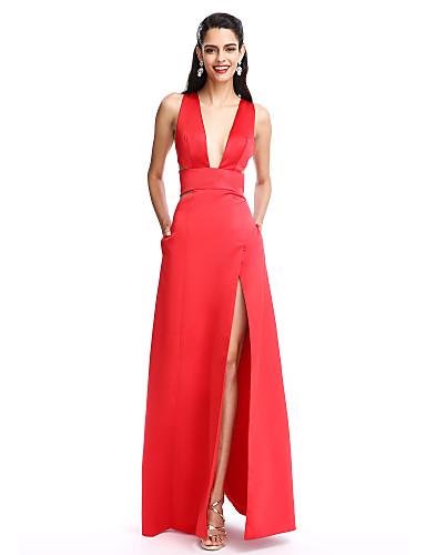 A-Linie Tiefer Ausschnitt Boden-Länge Satin Ausgeschnitten Abiball / Formeller Abend Kleid mit Vorne geschlitzt durch TS Couture®