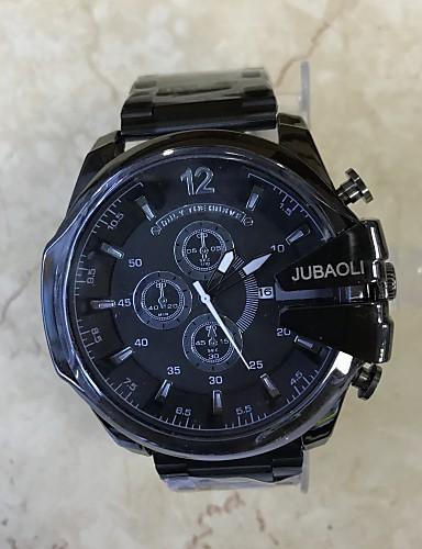Herrn Einzigartige kreative Uhr Modeuhr Chinesisch Quartz Kalender Großes Ziffernblatt Edelstahl Band Cool Schwarz