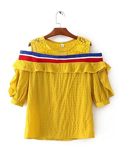 Damen Druck Sexy Einfach Street Schick Ausgehen Lässig/Alltäglich T-shirt,Rundhalsausschnitt Sommer Baumwolle Dünn Mittel