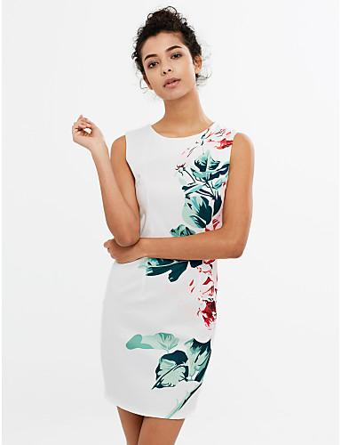 Mulheres Bandagem Vestido,Casual Simples Floral Decote Redondo Acima do Joelho Sem Manga Branco Poliéster Verão