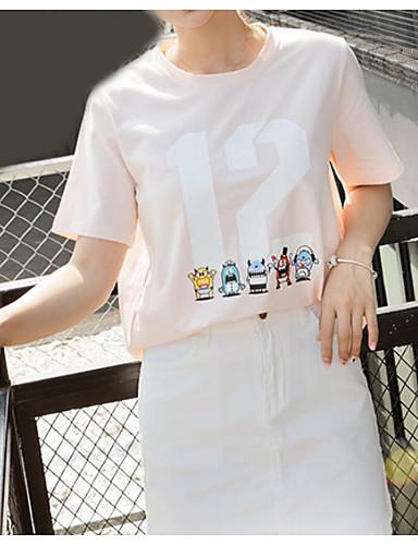 Damen Solide Niedlich Lässig/Alltäglich T-shirt,Rundhalsausschnitt Kurzarm Baumwolle