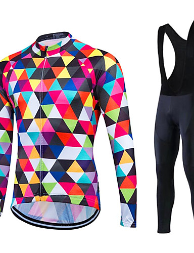 cheap Cycling Clothing-Fastcute Men's Long Sleeve Cycling Jersey with Bib Tights - White Argyle Plus Size Bike Clothing Suit Thermal / Warm Fleece Lining Breathable 3D Pad Quick Dry Winter Sports Polyester Fleece Silicon