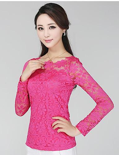 Damen Solide Einfach Lässig/Alltäglich T-shirt,Rundhalsausschnitt Frühling Langarm Baumwolle Mittel