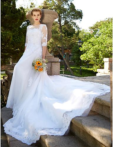 Linha A Ilusão Decote Cauda Catedral Tule Vestidos de noiva personalizados com Miçangas / Apliques / Botão de LAN TING BRIDE®