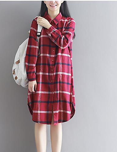 Damen Druck Einfach Lässig/Alltäglich Hemd,Hemdkragen Frühling Herbst Langarm Baumwolle Dünn