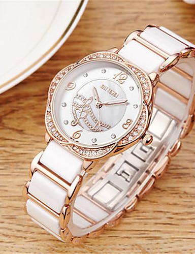 Damen Quartz Armbanduhr Imitation Diamant Keramik Band Elegant Modisch Weiß