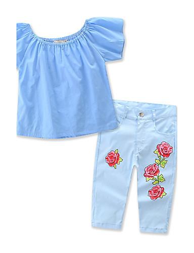 Para Meninas Conjunto Verão Misto de Algodão Manga Curta Floral Azul