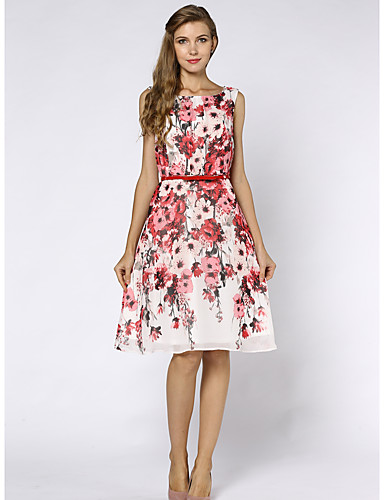 Women's Sophisticated Shift Dress - Floral High Rise