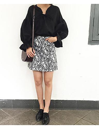 Damen Solide Einfach Lässig/Alltäglich Hemd,U-Ausschnitt Langarm Baumwolle
