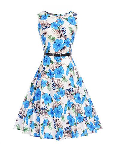 Naiset Tuppi Swing Mekko Vintage Rento/arki,Kukka Pyöreä kaula-aukko Polvipituinen Hihaton Puuvilla Polyesteri Kesä Korkea vyötärö