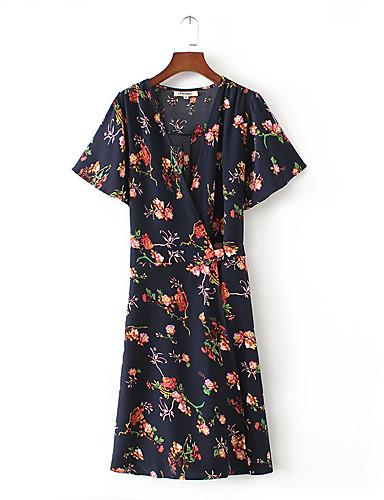 Damen Lose Etuikleid Kleid-Ausgehen Lässig/Alltäglich Einfach Street Schick Blumen V-Ausschnitt Knielang Kurzarm Seide Baumwolle Sommer