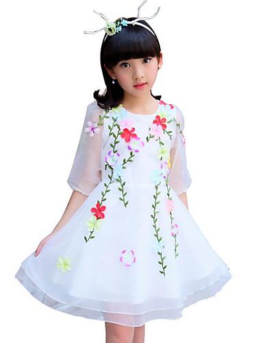 Dívka je Bavlna Polyester Jedna barva Květiny Krajka Léto Šaty