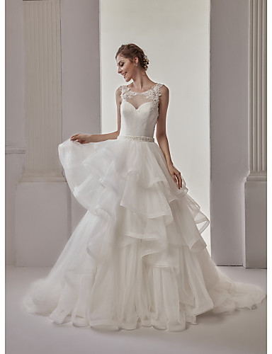 Ball Gown Illusion Neckline Sweep / Brush Train Lace Tulle Wedding Dress with Sashes/ Ribbons Tiered by Marrica