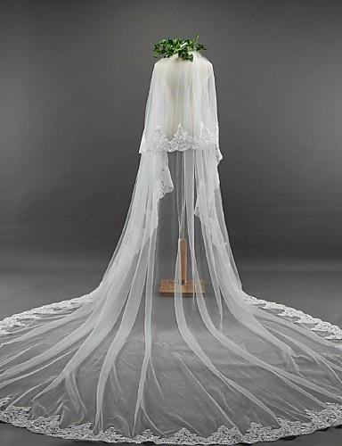 Zweischichtig Spitzen-Saum Hochzeitsschleier Mit