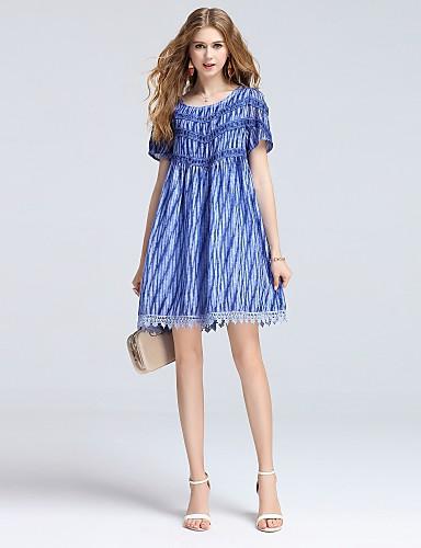 Damen A-Linie Kleid-Ausgehen Lässig/Alltäglich Niedlich Street Schick Anspruchsvoll Solide Volltonfarbe Jacquard V-Ausschnitt Maxi Kurzarm