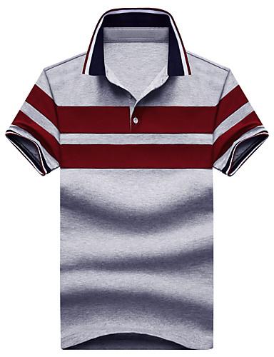 Homens Polo Clássico, Listrado Algodão Colarinho de Camisa