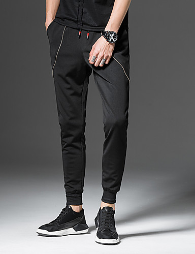 Men's Casual / Active / Street chic Plus Size Cotton / Polyester / Spandex Harem / Loose / Active Pants - Solid Colored Patchwork / Work