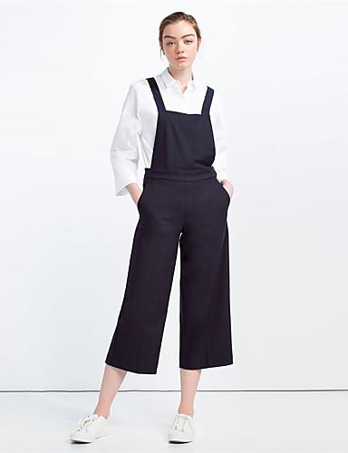 Damen Einfach Hohe Hüfthöhe Mikro-elastisch Chinos Breites Bein Hose einfarbig
